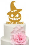 Trick or Treat Pumpkin Witches Hat Acrylic Cake Topper